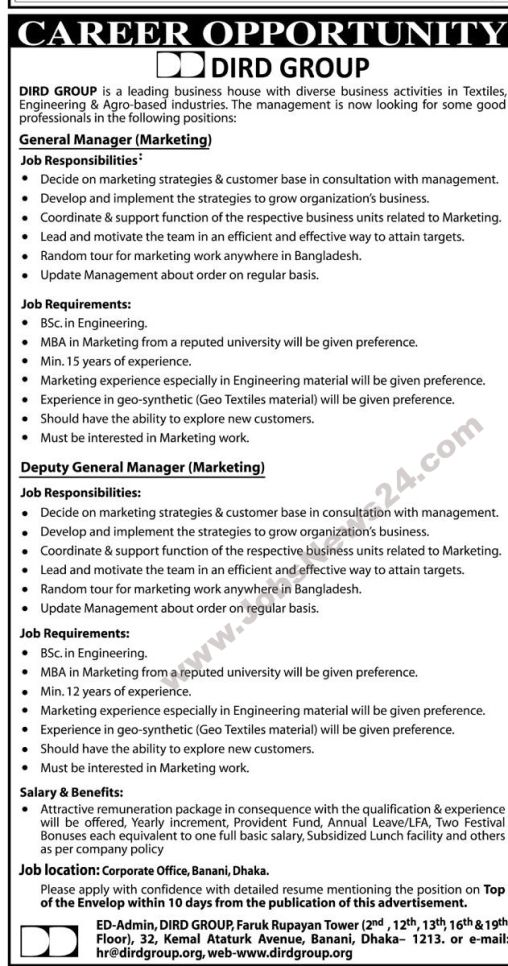Job Opportunity At Dird Group  Job Circular    Job