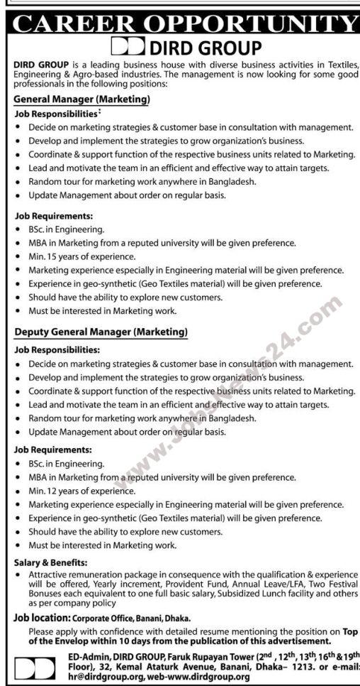 Job Opportunity At Dird Group  Job Circular    Job