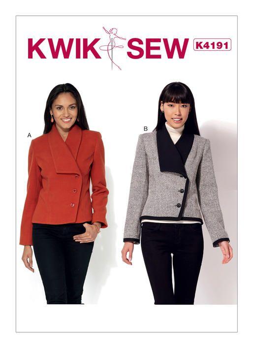 Kwik Sew Pattern K4191 Misses Shawl Collar Diagonal Closure