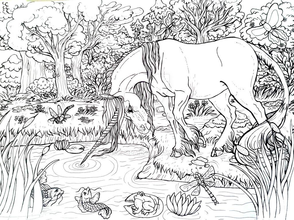 Unicorn Pond Unicorn Coloring Pages Fairy Coloring Pages Cool Coloring Pages