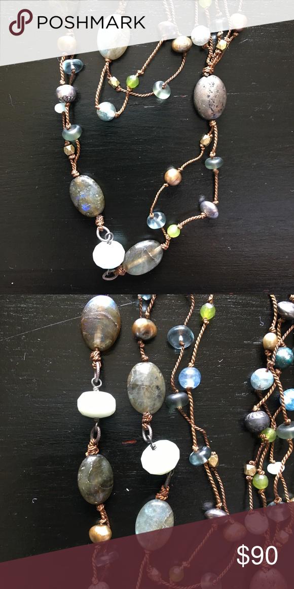 Silpada designs jewelry Green and blue howlite picture jasper