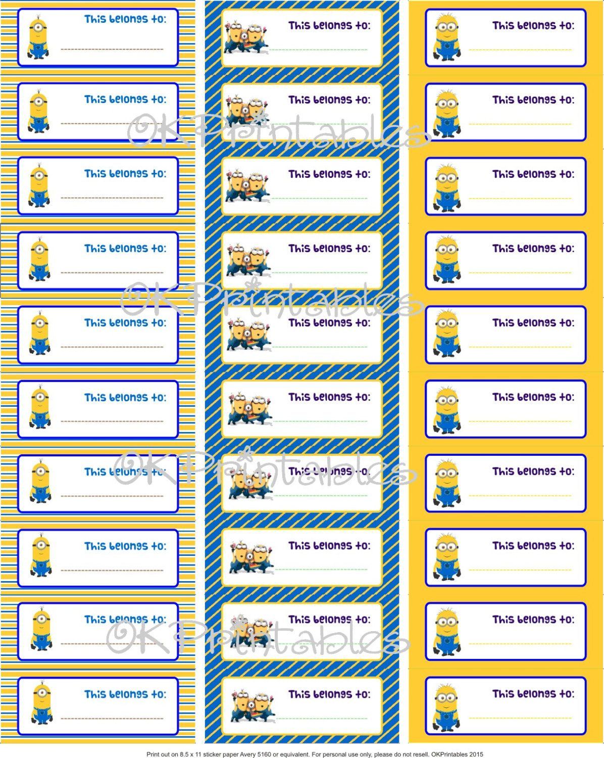 Minions Back to school Labels - Despicable Me - Labels - School supplies - Tags - Boys - Blue - Yellow - Fun labels - Instant download- PDF by OKprintables on Etsy
