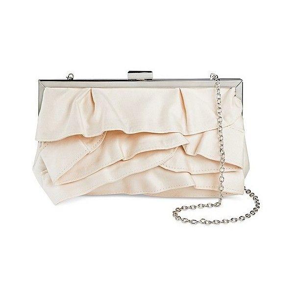 Women's Multiple Ruffle Flap Clutch Handbag Champagne ($21) ❤ liked on Polyvore featuring bags, handbags, clutches, beige, plus size, purse crossbody, beige clutches, crossbody flap purse, party handbags and beige purse