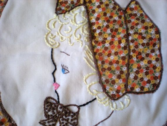 Pillow Cover  Calico Embroidered Hand Made  Girl by chloeswirl