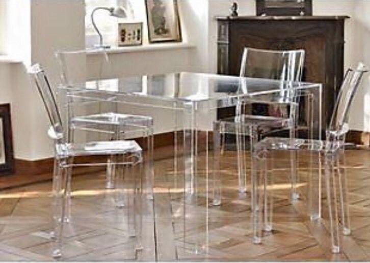 Kartell Phillip Stark 4 La Marie Stühle invisible Table ...