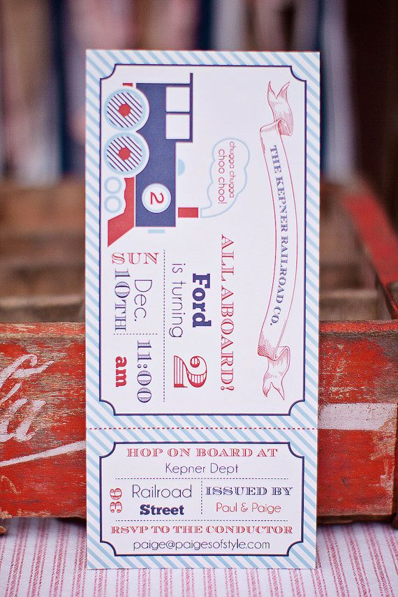 Printable Train Ticket Birthday Invitation Kids Birthday Party - create a ticket template
