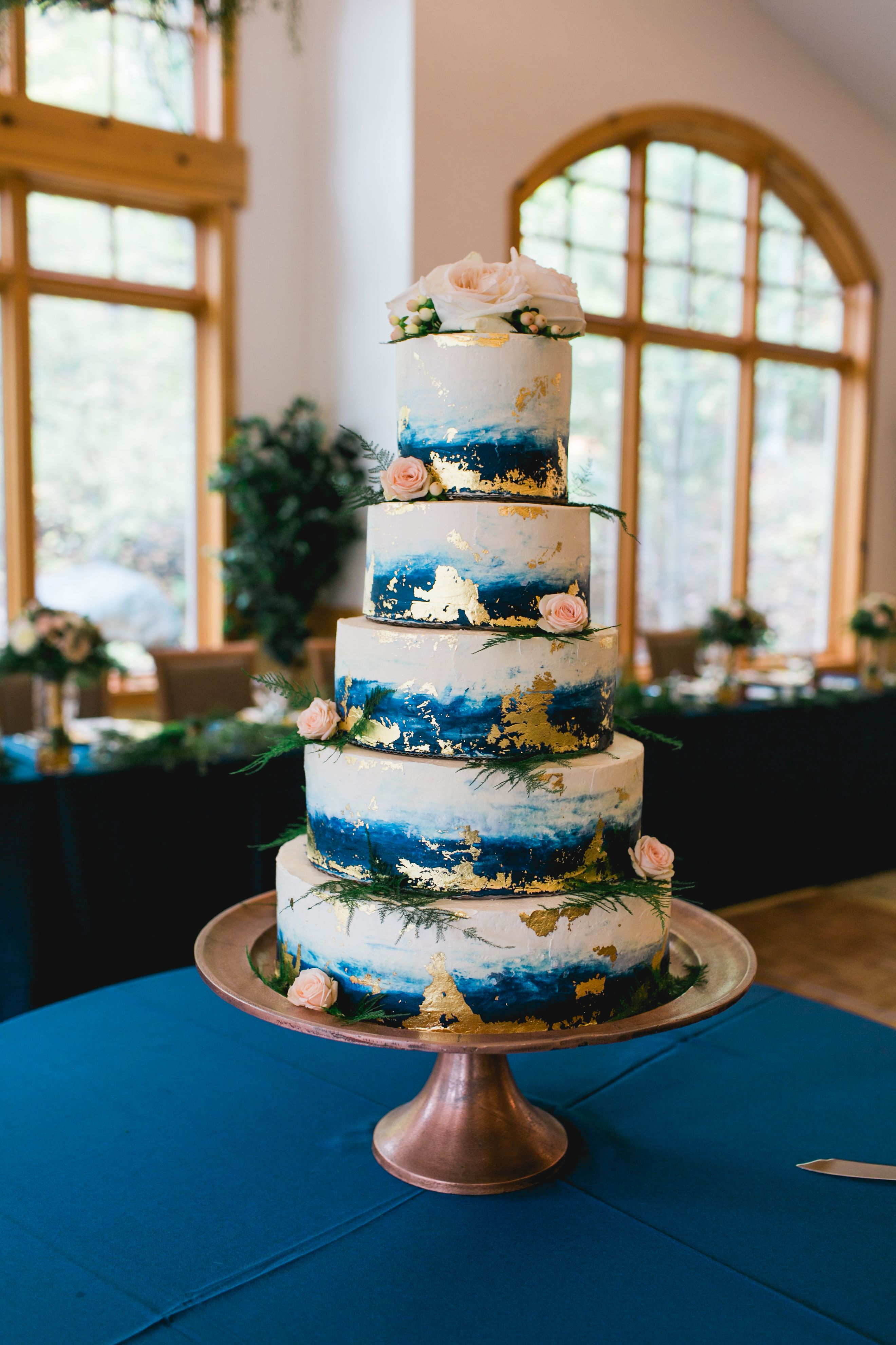 Blue Watercolor Wedding Cake With Gold Foil By Gwen Freas Photo