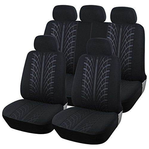 AUTOYOUTH Tire Line Design Full Set Seat Covers Terry Cloth Fabric Rear Split Automotive Accessories Universal Fits For Most Car SUV Truck 9PCS Black