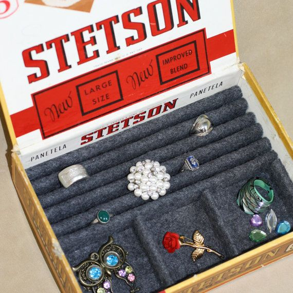 Vintage Stetson Panetela cigar box jewelry box by BirdseyeAttic