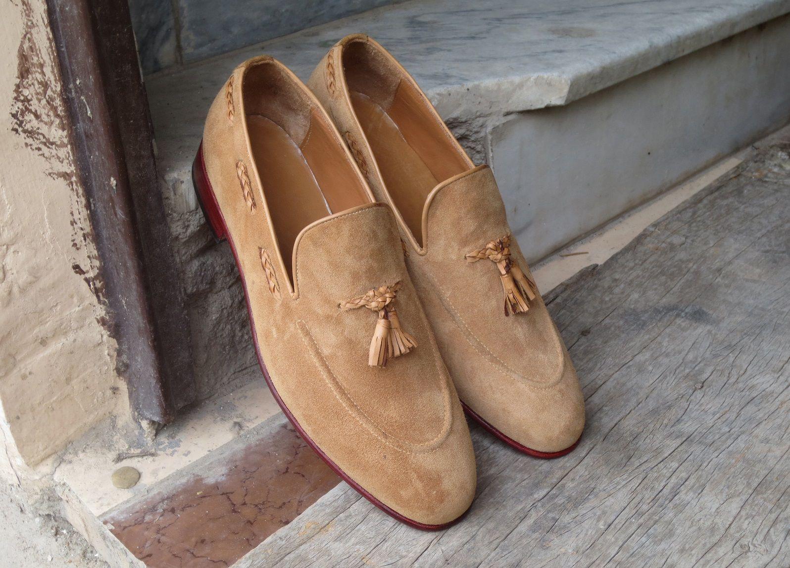 Handmade Beige Color Suede Loafer Slipper Dress Men S Fashion Moccasin Tussles Shoes In 2020 Dress Shoes Men Men Dress Loafers