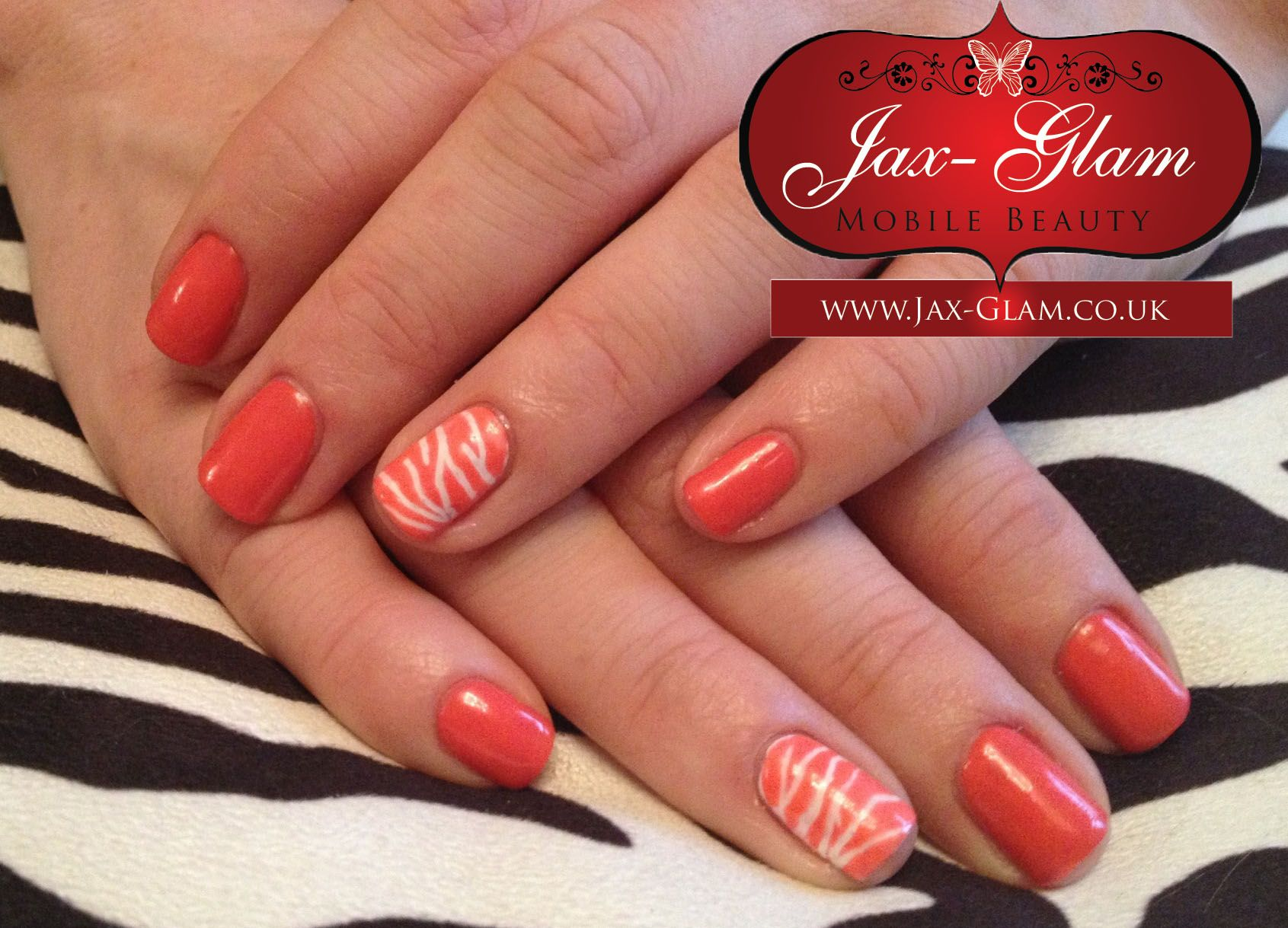 Cnd Shellac Tropix With Zebra Feature Finger By Jax Glam Mobile Beauty Bristol Wedding Makeup