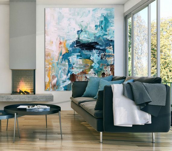 blue art abstract painting two piece abstract canvas on modern acrylic paintings for living room id=12002