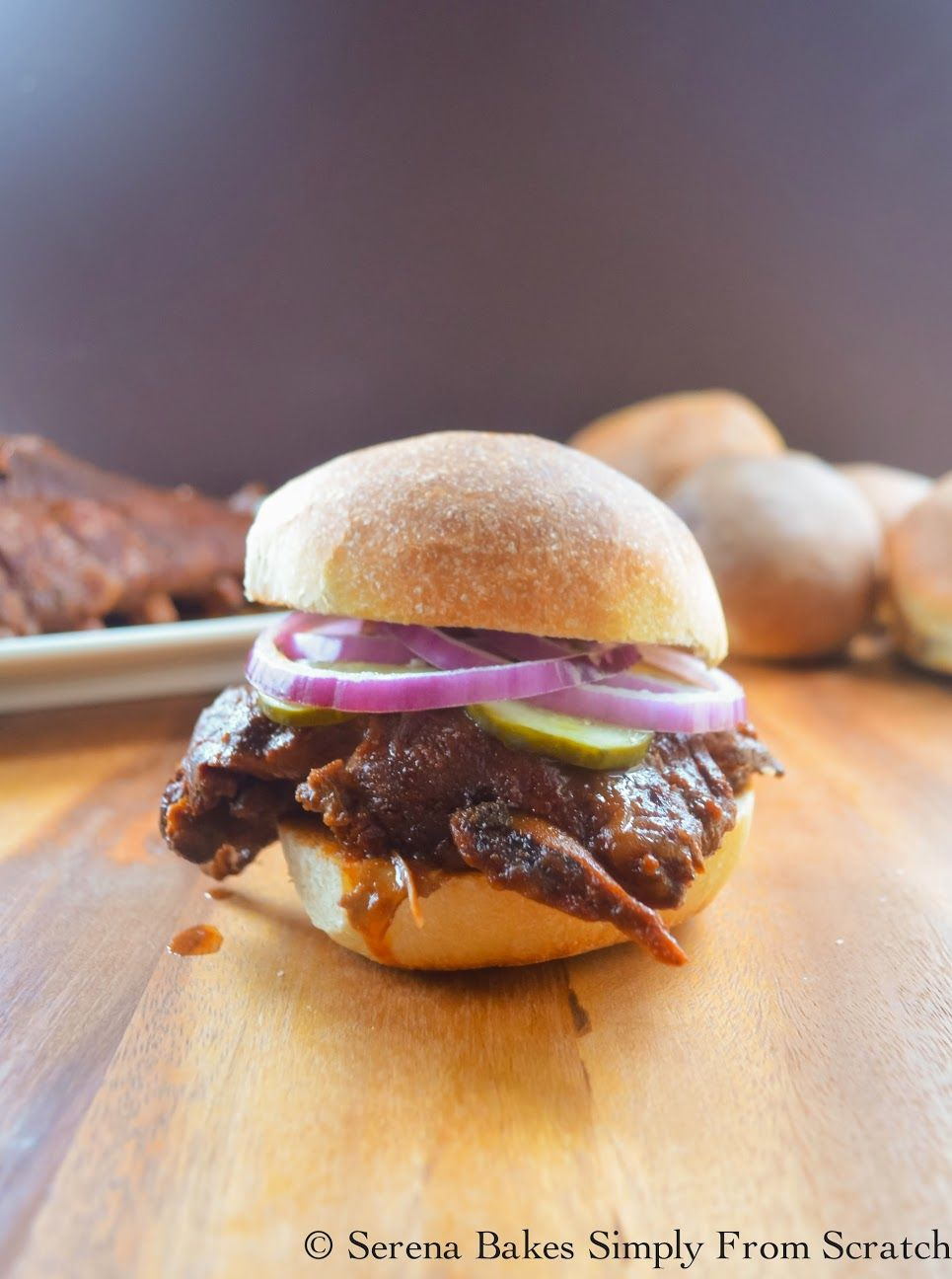 Crock Pot Baby Back Rib Sandwiches in Homemade BBQ Sauce an easy delicious meal from serenabakessimplyfromscratch.com