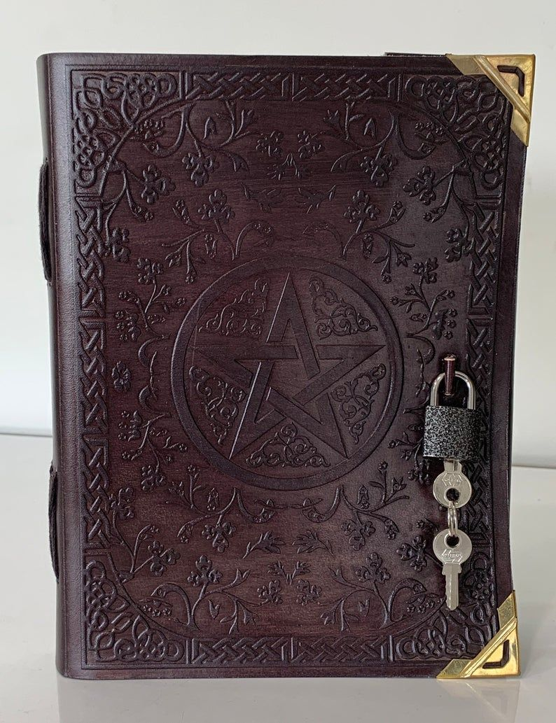 Classic Big Spell Book Grimoire Book Of Shadows Pentagram Etsy In 2020 Embossed Leather Journal Vintage Diary Leather Journal