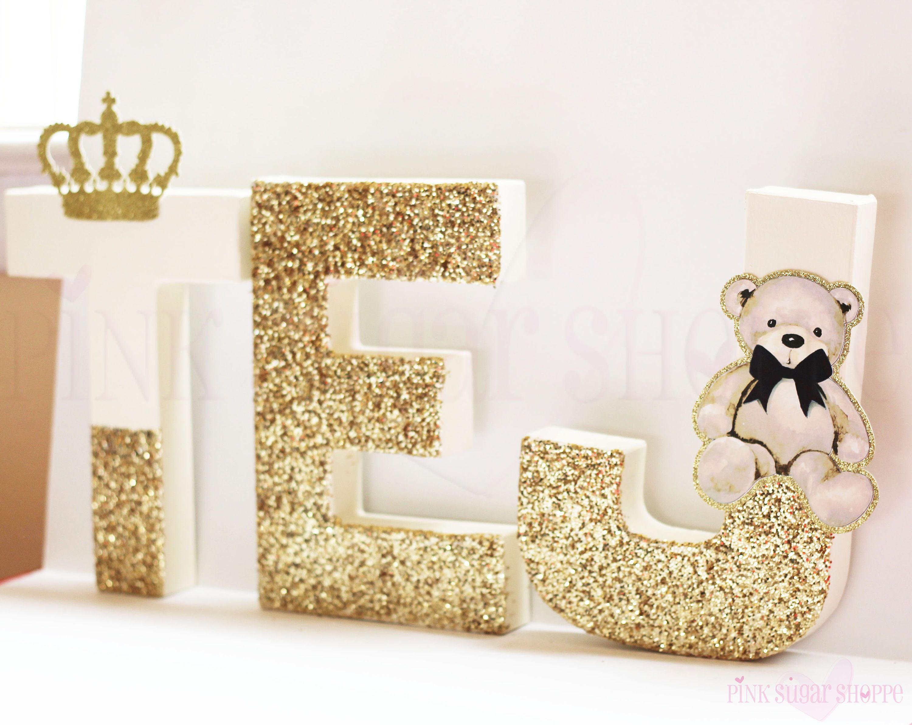 Royal Prince Baby Shower  Glitter Letters  Self Standing  Stand