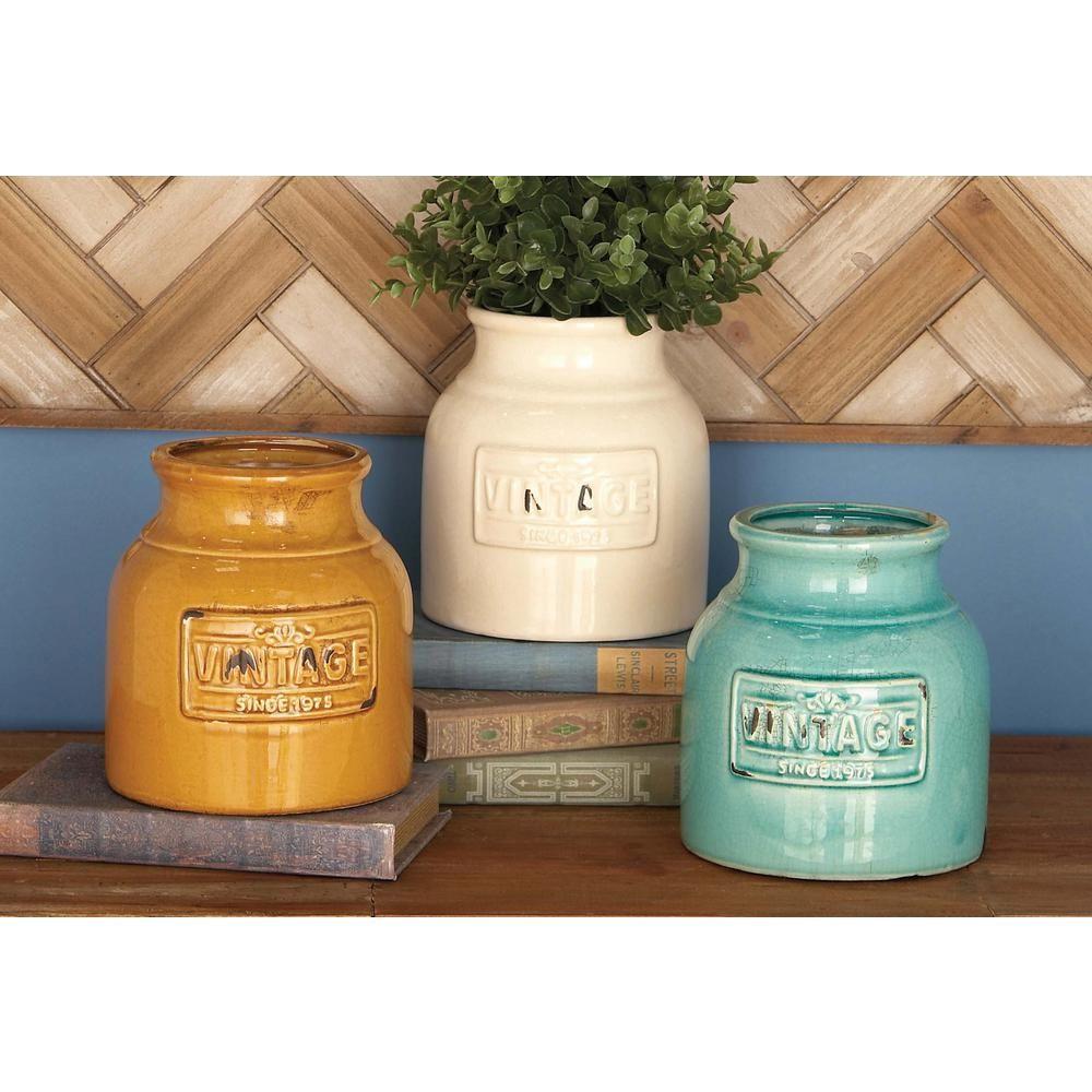 7 in. Ceramic Jar Decorative Vases in Assorted Glazed Colors (3-Pack), Multi