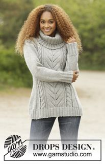 """Snow Tracks - Knitted DROPS jumper with cables and detachable collar in """"Nepal"""". Size: S - XXXL. - Free pattern by DROPS Design"""