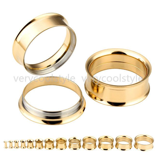 2Pc Golden Steel Screw Flesh Tunnels Ear Plugs Stretcher Gauges Piercing  Jewelry Medidores De Perforación, 1d72b950ab0