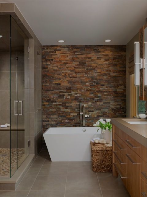 Modern Full Bathroom- Stone Wall- Glass Walk in Shower- Maple Vanity- Recessed Lights Above Bath ...