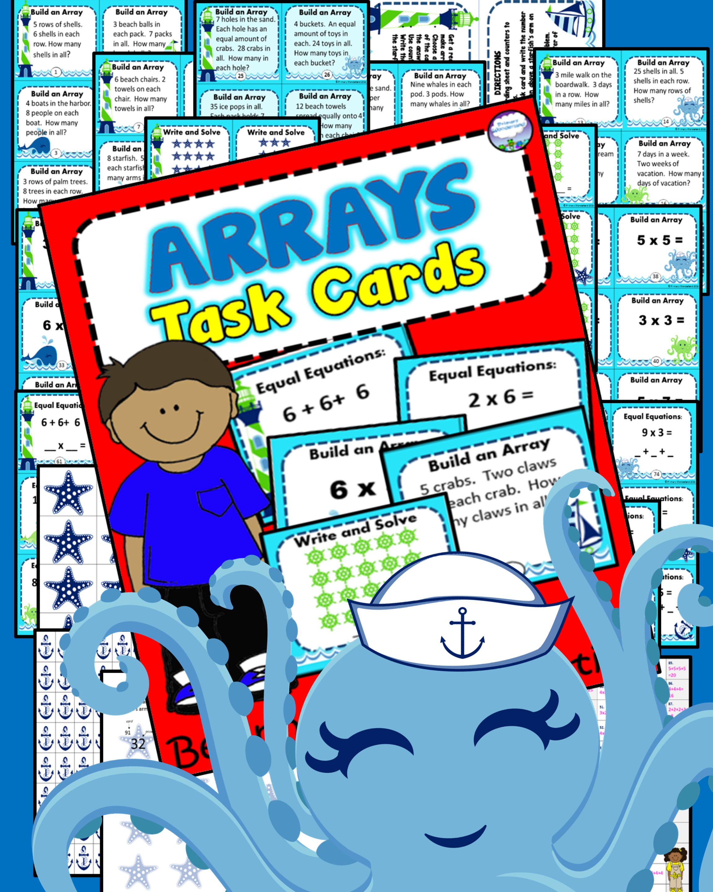 90 Multiplication Array Task Cards With Recording Sheet