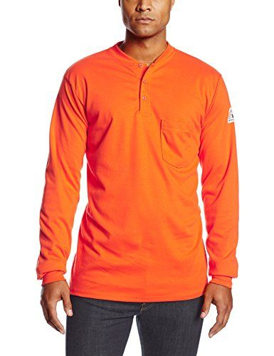 3f2388e2aaad Bulwark Flame Resistant 6.25 oz Cotton Excel FR Mens Long Sleeve Tagless  Long Henley Shirt with Three Button Placket
