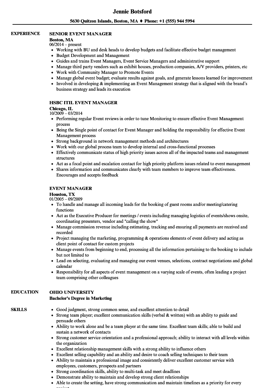 Event Manager Resume Samples Resume Examples Business Analyst Resume Manager Resume