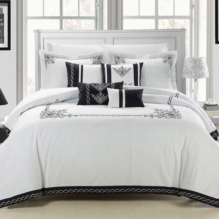 11 Piece Abelia Comforter Set In White Black A Better Rest On Joss Main Draps De Lit Linge De Lit Idee Deco