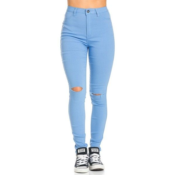 e19b4159f74 Super High Waisted Knee Slit Skinny Jeans in Baby Blue ( 25) ❤ liked on