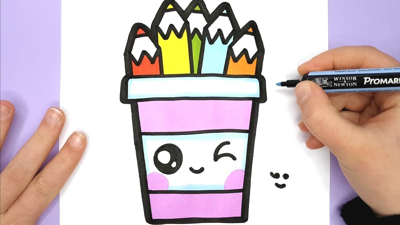 How To Draw A Cute Pencil Pot Easy Happy Drawings Youtube
