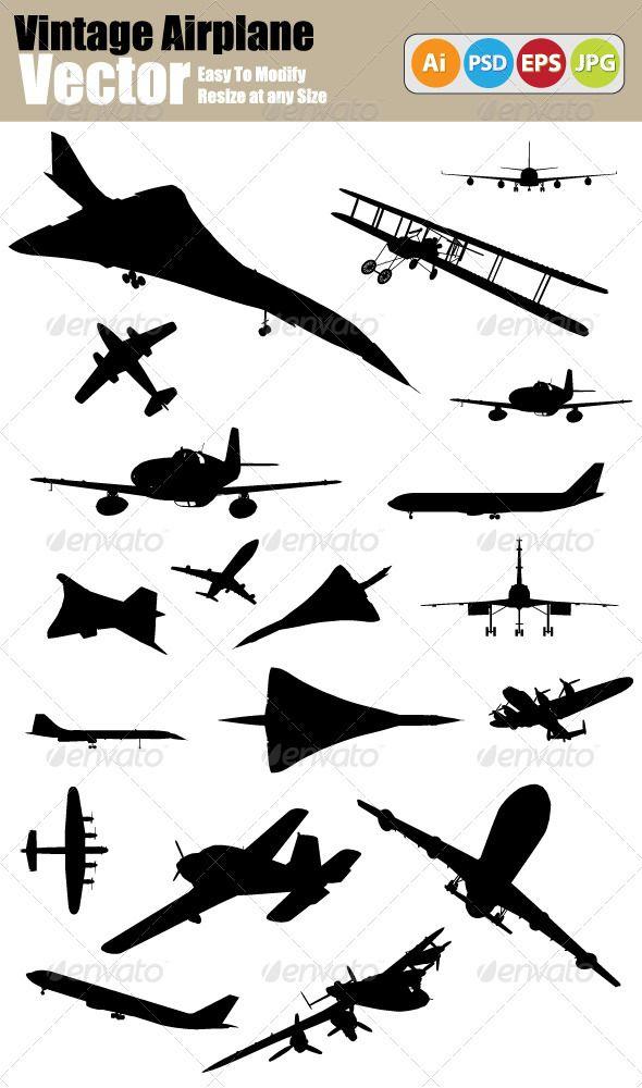 Vector Vintage Airplane Silhouette Set Airplane Silhouette Vintage Airplanes Vintage