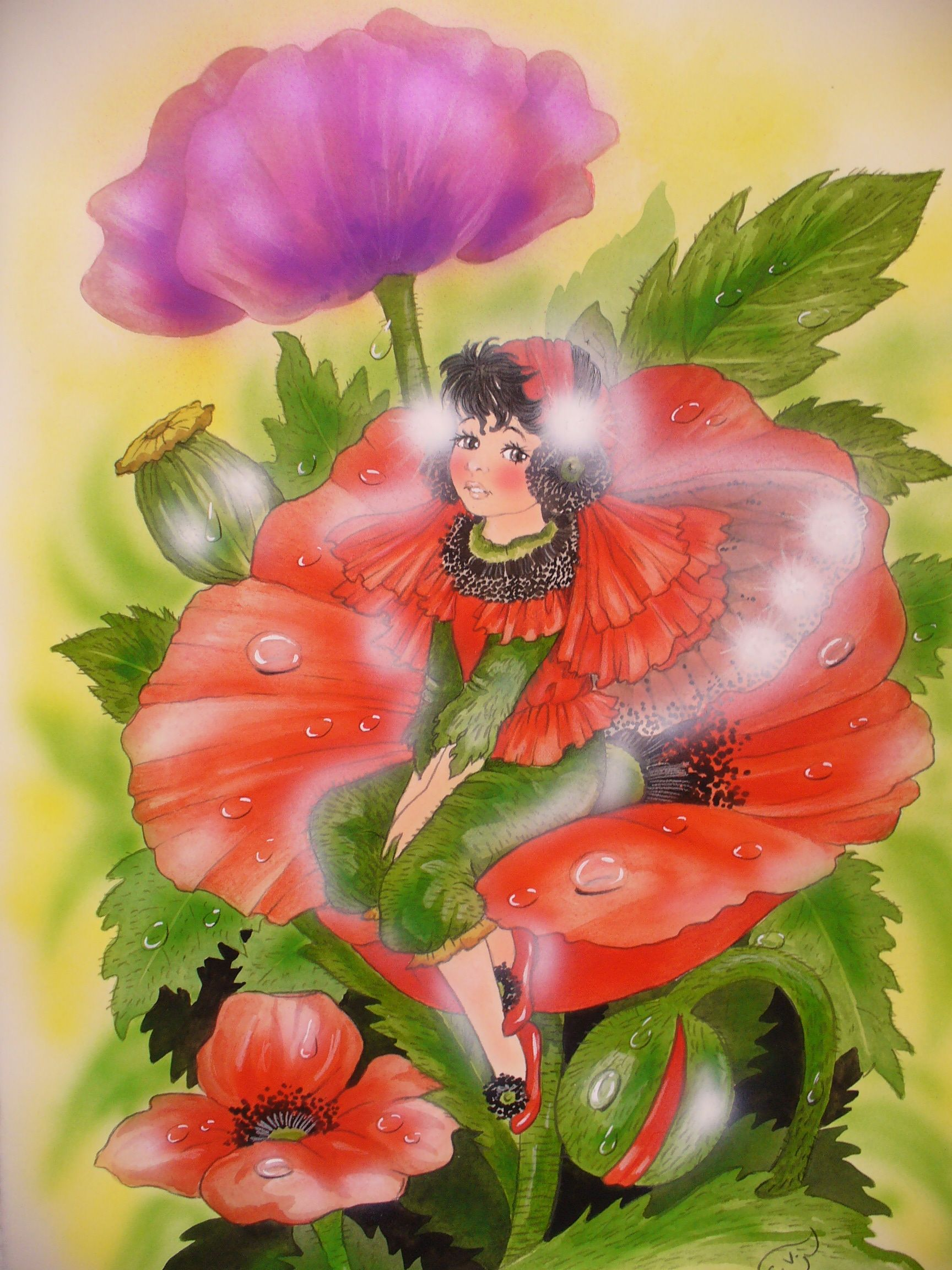 Auf der Klatschmoonwiese, da sitzt das Mohnblumen-Elfchen ganz traurig, weil...  von Christl Vogl