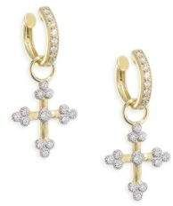 Jude Frances 18k Provence Tiny Cross Diamond Earring Charms Uf4w4i7