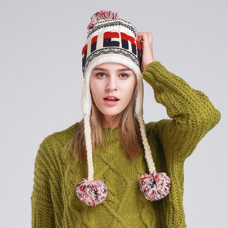 ff55e3653f23e Winter Beanie Women Earflap Knitted Hat Girls Plush Lining Cap Windproof  Hats