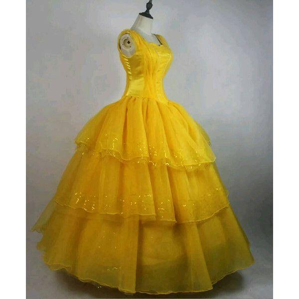 Princess Belle Costume Beauty Beast Ladies Cosplay Fancy Dress Gown Yellow Dress