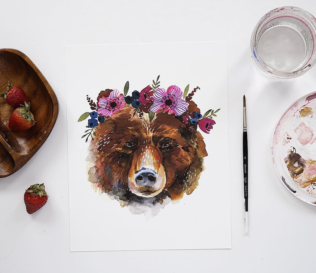 Bear With Flower Crown
