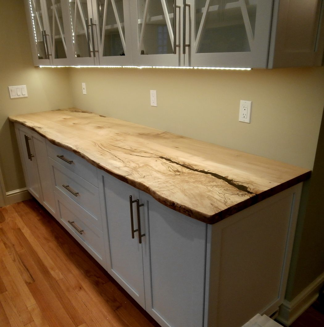 Live edge maple slab countertop happy home pinterest for Natural edge wood countertops