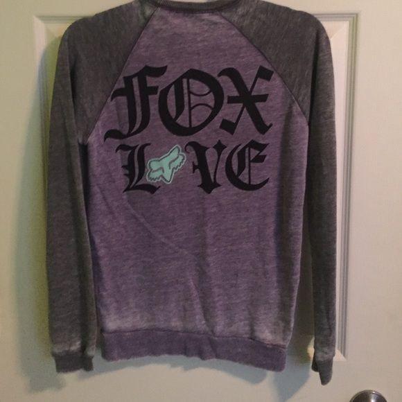 Fox racing Womens sweater light weight Fox racing grey,purple,teal light weight sweater. Size small NWOT Fox Sweaters Crew & Scoop Necks