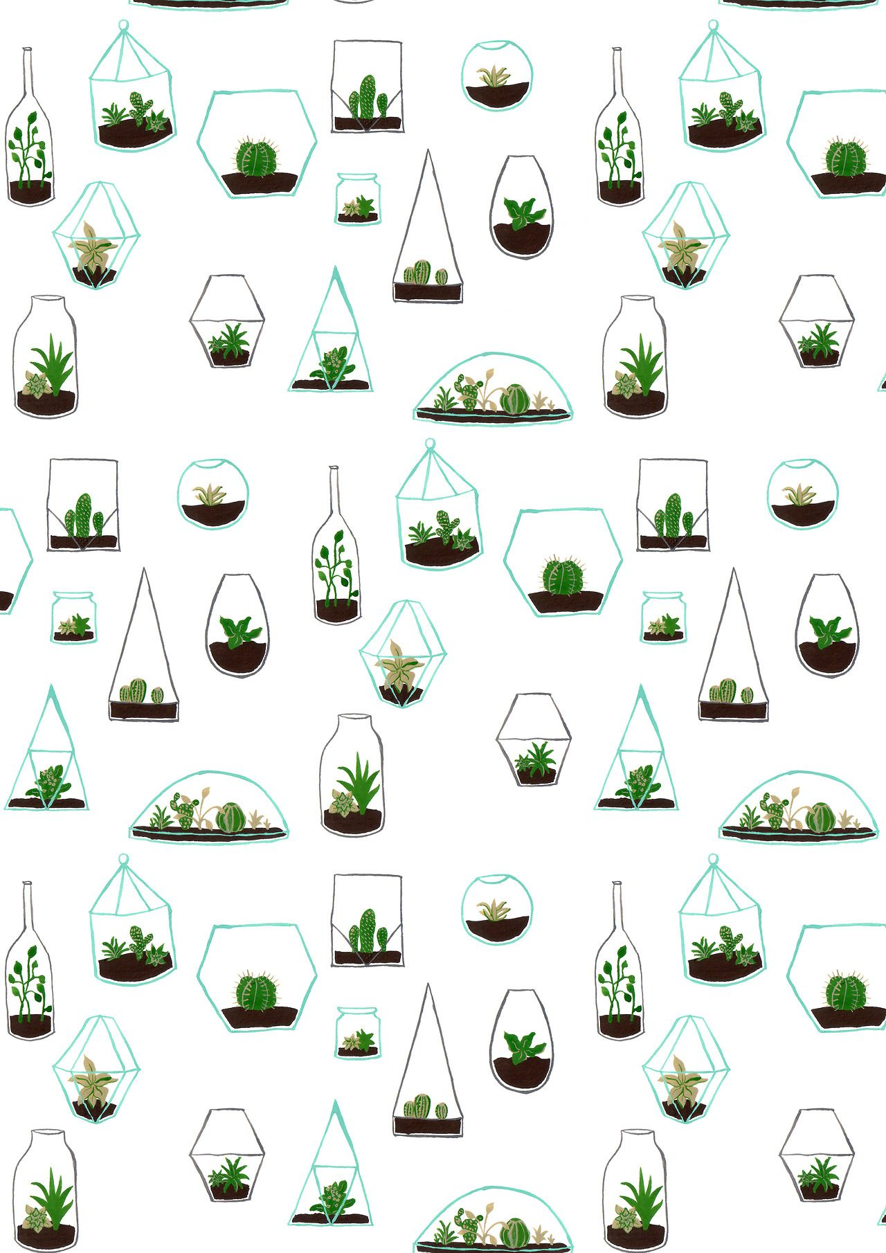 Tumblr iphone wallpaper simple - Simple Terrarium Pattern Drawing Proves You Can Make Cute Illustrative Patterns Our Of Anything Around