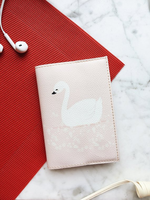 af2793829aaa Pink swam passport Holder eco leather travel cover for document gift ...