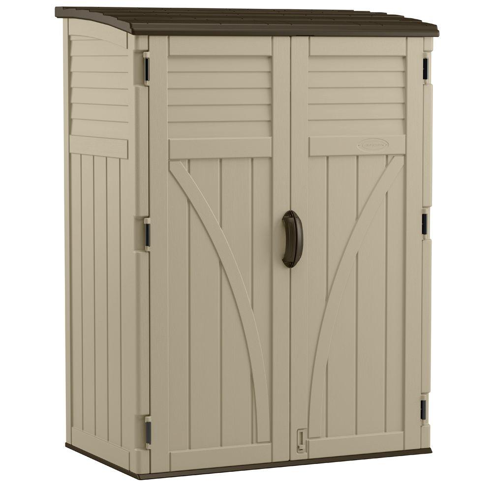 Suncast 2 Ft 8 In X 4 Ft 5 In X 6 Ft Large Vertical Storage Shed Bms5700 The Home Depot In 2021 Shed Storage Storage Shed Vertical Storage