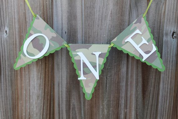 Camo High chair Banner First Birthday One by PartyandHomeDesign