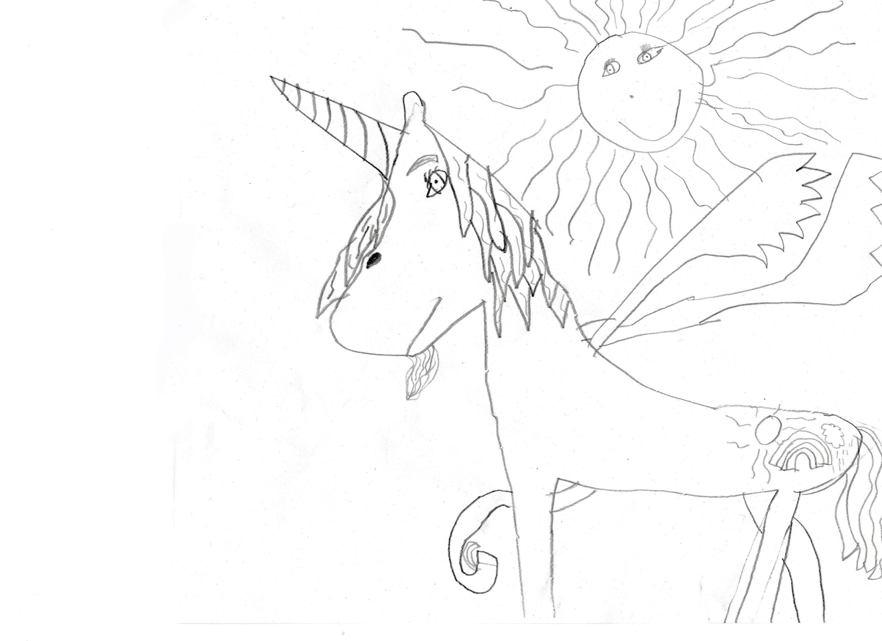 Geflügeltes Einhorn Unicorn Ausmalbild Sonne Kostenlos Gemalt