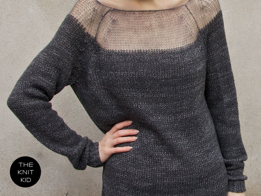 Sweater bulky transparent mohair merino grey theknitkid | Tejido ...