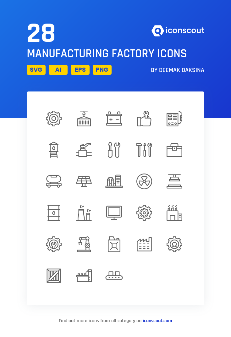 Download Manufacturing Factory Icon Pack Available In Svg Png Eps Ai Icon Fonts In 2021 Factory Icon Icon Pack Icon