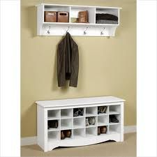 White Entrance Bench With Shoe Rack I Want This For My House Meuble Entree Meuble Entree Ikea Meuble Chaussure