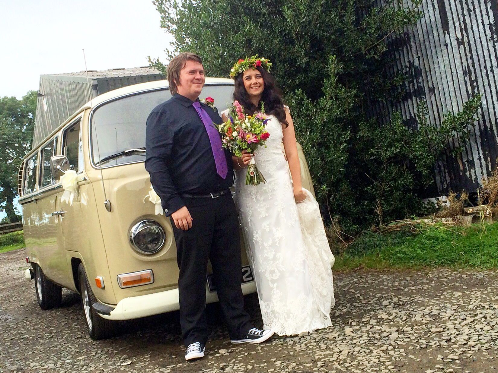 Congratulations to Hayley and Alan married and celebrating at High House Farm Brewery. VW Deluxe Weddings, Chauffeur driven VW Campervan wedding hire throughout the NorthEast, Northumberland, Tyne&Wear, and Durham.