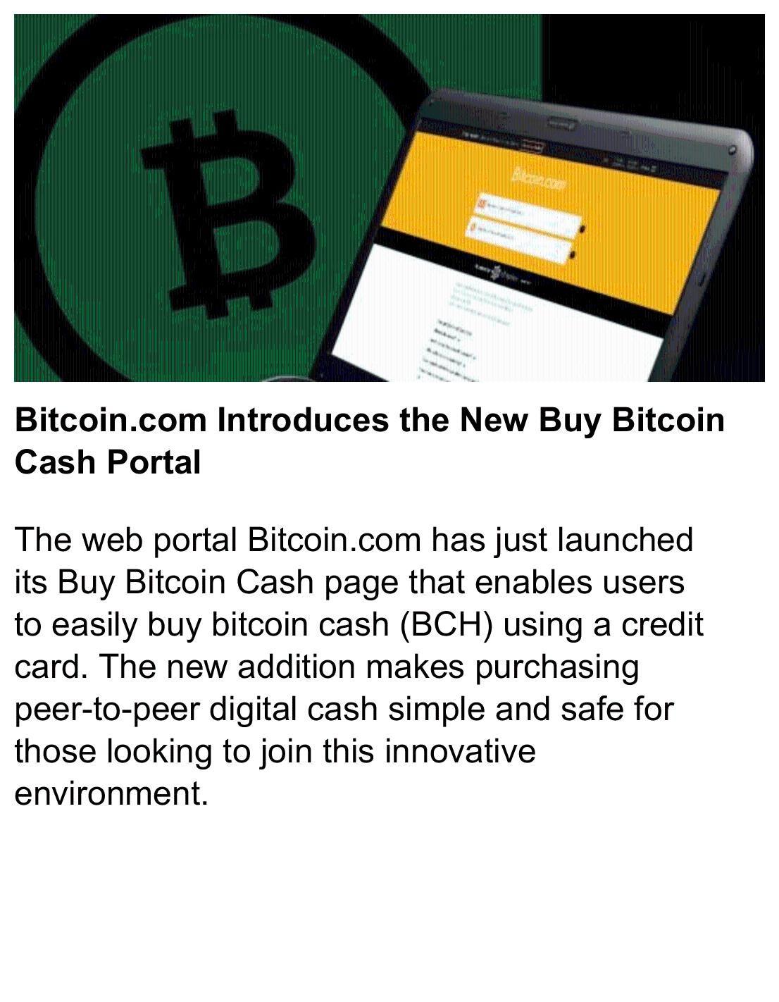Bitcoin.com Introduces the New Buy Bitcoin Cash Portal # ...