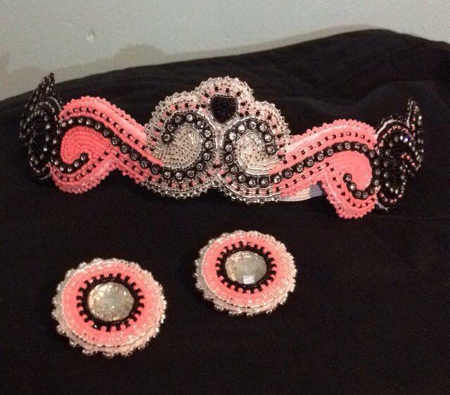 beaded headband and beaded earrings beading