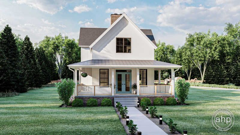 2 Story Narrow Modern Farmhouse Plan Birch Hollow in
