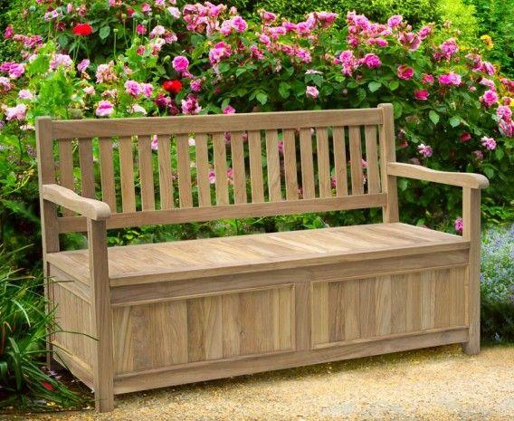 Windsor Teak 5ft Garden Storage Bench With Arms Teak Garden